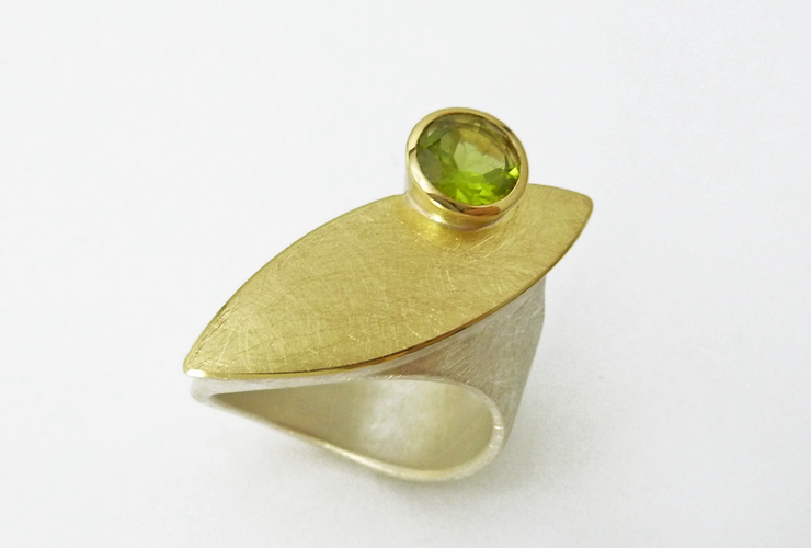 Ring 925 Silber/750 Gelbgold, Peridot